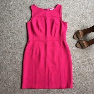 Loft pink sheath dress career sleeveless size 12